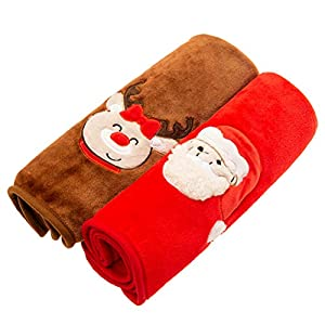 EXPAWLORER Pet Warm Blanket Santa Claus Embroidery Print Soft Comfortable Flannel 2 Pieces for Cats Dogs