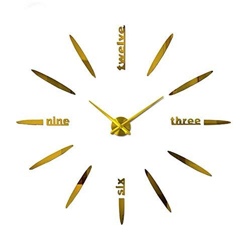 TPFEI Reloj de Pared Espejo de Metal Reloj de Pared de acrílico Reloj Digital 3D Relojes Personalizados Reloj de Pared DIY-Oro
