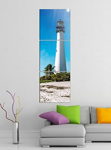 Acrylglasbilder 3 Teilig 50x150cm Cape Florida Leuchtturm Turm Meer Wasser Strand vertikal Druck Acrylbild Acrylbilder Acrylglas 14?6512, Acrylgröße 9:Gesamt 50x150cm