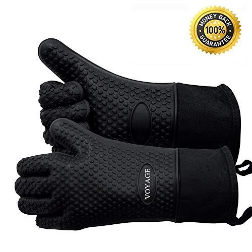 Voyage Premium Ofenhandschuhe (2er Set) bis zu 350°C - Silikon Extrem Hitzebeständige Grillhandschuhe BBQ Handschuhe zum Backen, Barbecue,...