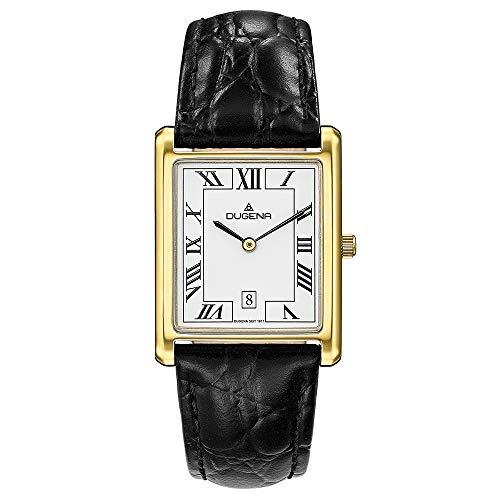 DUGENA Unisex-Armbanduhr 4460726 Quadra Classica, Quarz, weißes Zifferblatt, Edelstahlgehäuse, gehärtetes Mineralglas, Lederarmband, Dornschließe, 3 bar