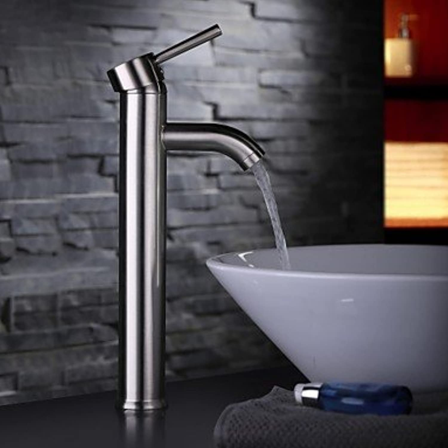 SYX Contemporary Nickel Brushed One Hole Single Handle Bathroom Sink Faucet