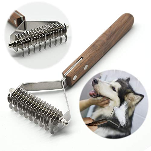 onebarleycorn – Premium Hundebürste und Katzenbürste Fellpflege,17+9 doppelseitige Zähne, Entfernt Unterwolle und Verfilzung für Hunde und Katzen