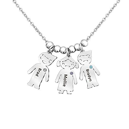 Personalisierte Kette Damen mit 1-5 Kinder Namen Gravur Halskette Silber Mutter Tochter Anhänger mit Steine Geschenk für Muttertag Weihnachten Geburtstag