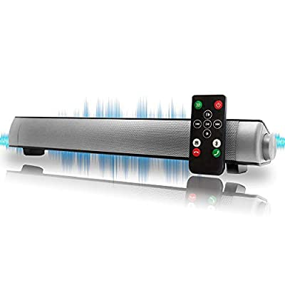 Bluetooth Sound Bar Mini Portable Soundbar Wireless Speakers for Home Theater Surround Sound with Built-in Subwoofers for TV/PC/Phones/Tablets with Remote Control