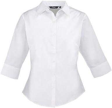 Popelín para Mujer 3/Blusa de 4 de Manga Corta para, Plain Camiseta de Manga Corta de Trabajo para Mujer