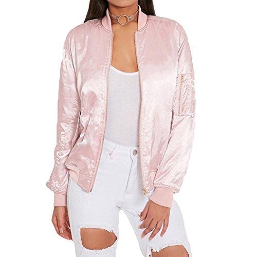 Hibote Beiläufiger Slim Jacken Kurze Parka für Damen Elegant Satin Bomberjacke Kurze Motorrad Jacke Mantel Cardigan Tops Outwear rosa,...