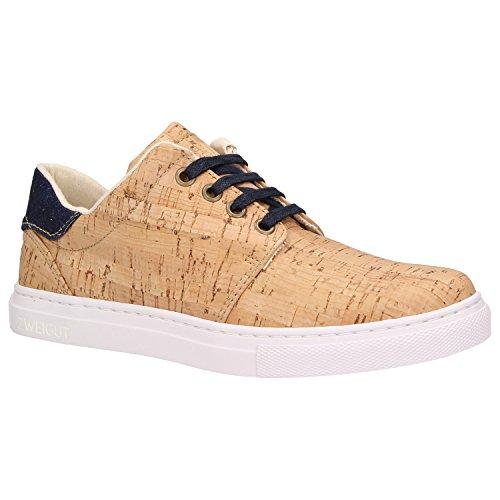Zweigut® -Hamburg- echt #401 echter Kork Allwettertauglich Schuhe Damen Halbschuhe Sneaker, vegan + nachhaltig, Schuhgröße:38, Farbe:Jeansblau-Kork