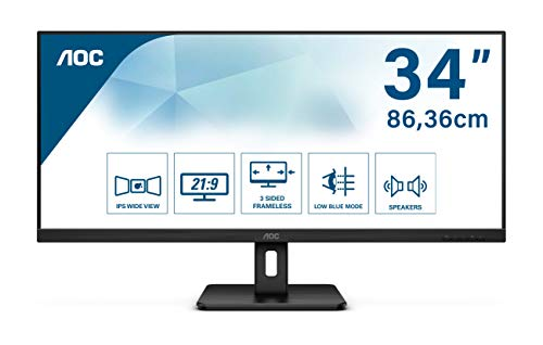 "AOC Q34E2A 34"" UWide QHD Monitor (2560x1080, 75Hz, Flicker Free, Low Blue Light, Lautsprecher, VESA, HDMI, Displayport)"