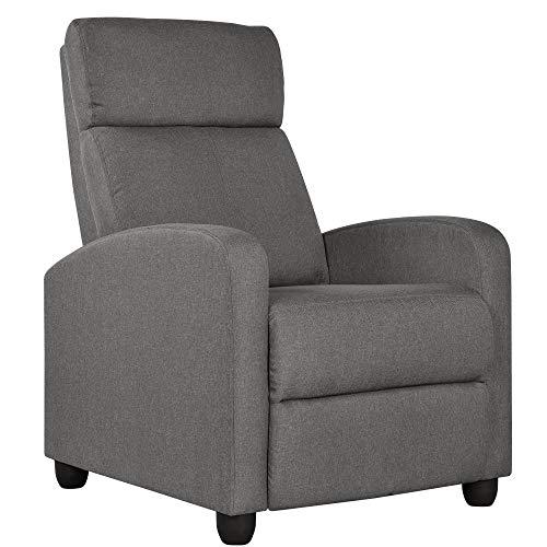 Yaheetech Relaxsessel Fernsehsessel Einzelsofa Ruhesessel mit Verstellbarer Beinablage Liegesessel aus Leinenstoff Grau