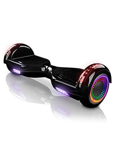 """ACBK - Hover auto-équilibré avec roues de 6.5"""" (Bluetooth + Lumières LED) Vitesse maximum: 10-12 km/h - Autonomie: 10-20 km (Noir)"""