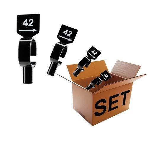 Kunststofftechnik Vlotho - Der Original Größenfinder: Modell Stangenreiter mit Gewicht Unisex - Bekleidungsgrößen - Set, 12 Stangenreiter mit Gewicht für Größenkennzeichnung auf Kleiderstangen