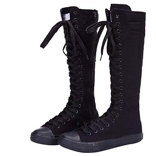 Yirenhuang Damen Mode Knie Hoch Leinwandstiefel Schnüren Reißverschluss Eben Sportschuhe Mädchen Tanzschuhe Schwarz F888 EU38