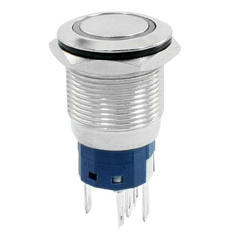 sourcing map 12 V Vert lampe 19 mm Mont verrouillage 5 broches en métal Plat Bouton commutateur No NC