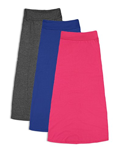 Free to Live 3 Pack Girls 7-16 Maxi Skirts - Great for Uniform (Small, Charcoal, Fuchsia, Royal Blue)