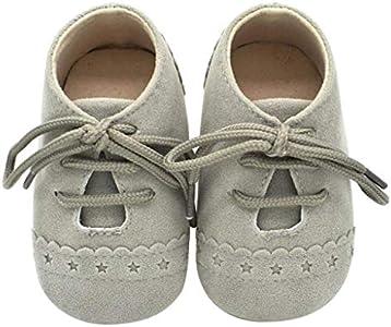 Zapatos Bebé Niña 2019 SHOBDW Zapatos Bebé Niño Verano Suela Suave Antideslizante Zapatillas Ata para Arriba Zapatos Bajos Linda Zapatos Bebé Recién Nacida Zapatos Bebe Primeros Pasos(Gris,6~12)