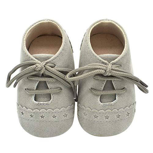 Zapatos Bebé Niña 2019 SHOBDW Zapatos Bebé Niño Verano Suela Suave Antideslizante Zapatillas Ata para Arriba Zapatos Bajos Linda Zapatos Bebé Recién Nacida Zapatos Bebe Primeros Pasos(Gris,0~6)