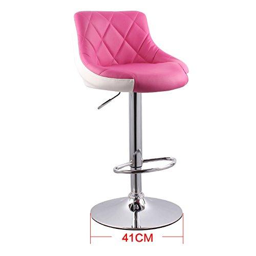 Ascenseurs, barre simple moderne, tabouret haut, tabouret de bar, chaise de dossier, tabouret de bar (Couleur : Rose red+white)