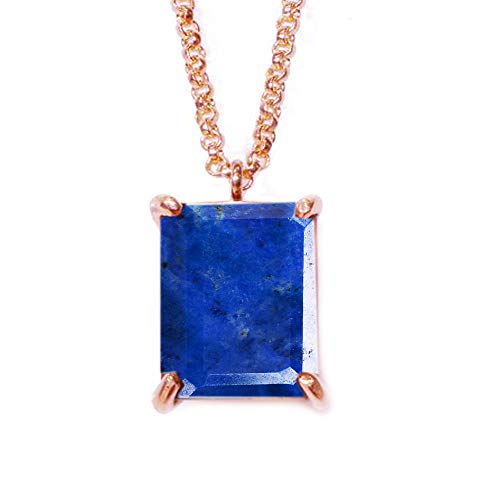 JewelryGift Original Lapis Pendant with Chain Cabochon Gemstone Blue Rose Gold Plated Beautiful Pendant for Girls and Womens