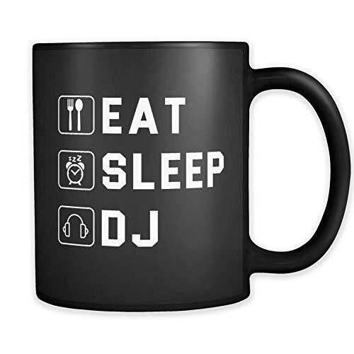 N\A Regalo de DJ para Taza de DJ Regalo de Disc Jockey para Taza de Disc Jockey Festival Regalo de DJ Regalo Musical para Amante de la música Regalo Raver Gift Eat Sleep Taza de DJ a652