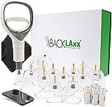 BACKLAxx 12 Piezas Juego de Ventosas con Bomba de Vacio - Ventosas para Masaje para Fisioterapia - Ventosa Celulitis, Ventosaterapia, Cupping Set