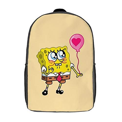 Spongebob Ballonrucksack Schulranzen Reisetasche Business-Tagesrucksack für Herren Damen Teenager Schule College 17 Zoll
