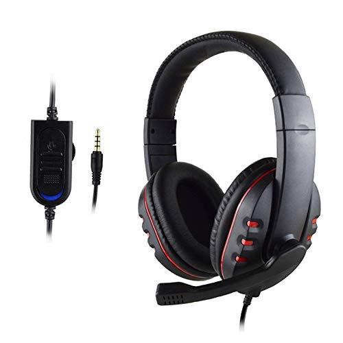 Gaming-Headset Headset mit Mikrofon Hi-Fi Gaming Headset Portable Headset für PCP PC PS4 Xbox One Mobile Angenehm zu tragen (Color : Black)