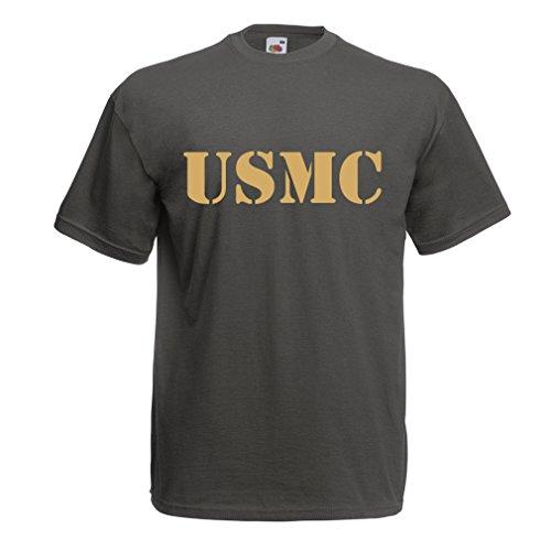 lepni.me Camisetas Hombre Emblema del USMC, Cuerpo de Marines, Logotipo de los Marines, Fuerzas Armadas de la Marina de los EE.UU. (Large Grafito Oro)