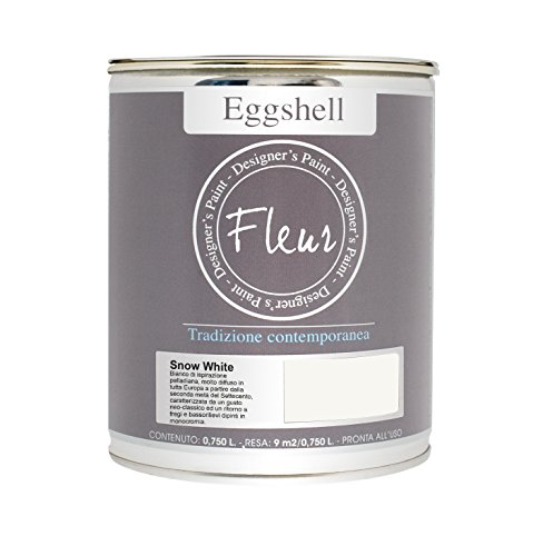 Fleur Designer'S Paint Fleur Eggshell - Esmalte satinado de alta resistencia para muebles y grandes superficies – 0,75 l – Snow White