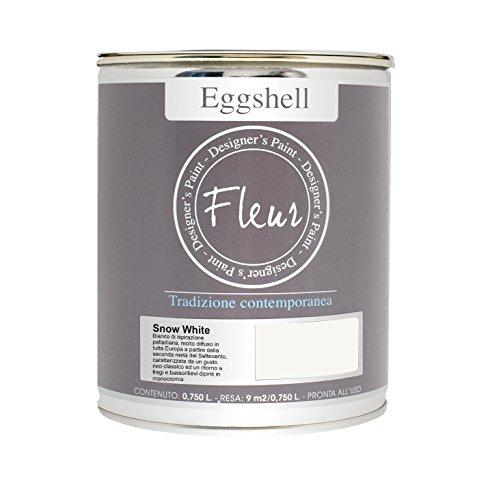 Fleur Designer'S Paint Fleur Eggshell Smalto Satinato Ad Alta Resistenza Per Mobili E Grandi Superfici - 0.75L - Snow White