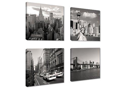 Visario Image sur Toile New York 4x20 x 20 cm Modèle N° XXL 6901 Art Tableaux pour la Mur, encadrés, prêts à Poser, Tout Les Images sur châssis géant Bois véritable.