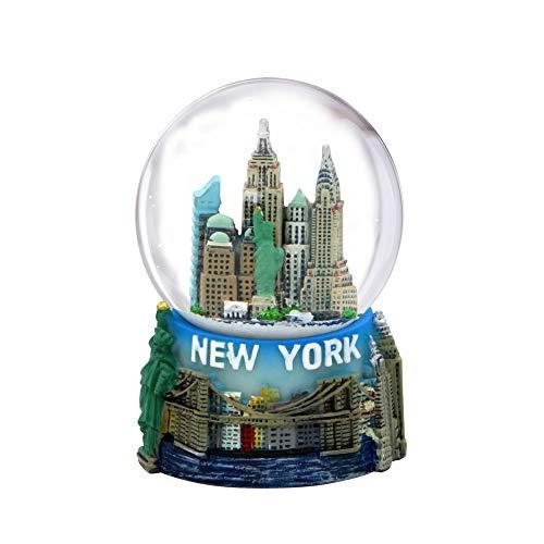 Mini globo de neve da cidade de Nova York com o horizonte de Nova York nesta estatueta de lembrança com estátua de liberdade, 6,35 cm de altura (45 mm)
