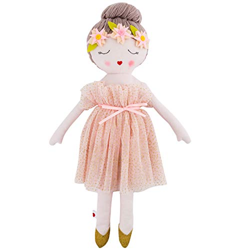 Hearts of Yarn Plush Madeleine Ballerina Doll For Girls Soft Sleeping Cuddle Buddy For Toddlers, Infants and Babies 19 inches Tall Extra Large, Handmade First Baby Doll and Toy Cute Nursery Room Decor