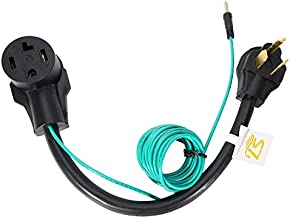 20Inch Nema 10-30P to 14-30R Dryer Adapter Cord, STW 10-AWG Heavy Duty 3-Prong Dryer Male to 4-Prong Dryer Female Adapter, 10-30P to 14-30R with Additional Green Ground Wire