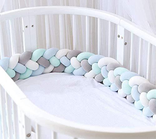PetKids 4 Weben Bettumrandung Babybett Bettschlange Baby Bettumrandung 2M/2.5M/3M Nestchen Stoßfänger Dekoration für Krippe Kinderbett
