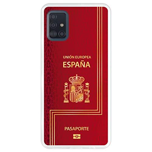 Telefoonhoesje voor [ Samsung Galaxy A51 ] tekening [ Biometrisch Spaans paspoort ] Transparant TPU flexibele siliconen schaal