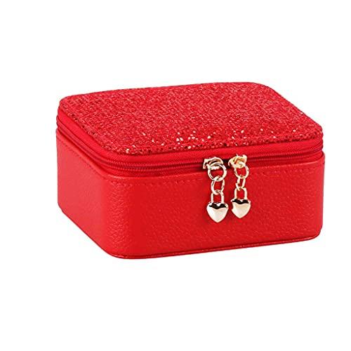 YUTRD ZCJUX Zipper Cierre Anillo Almacenamiento Joyería Joyería Mini Pendientes Organizadores Mostrar Regalo Inicio PU Cuero Portátil Viaje Multi Compartimiento (Color : Red)