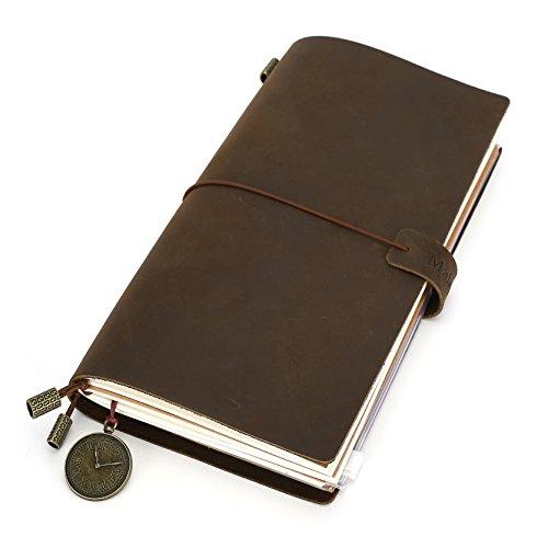MaleDen Leder-Notizbuch, nachfüllbares Reise-Notizbuch im Vintage-Stil, Echtleder, Reisetagebuch mit Reißverschlusstasche, Kartenschlitz, blanko/lined/gepunktetes Papier (hellbraun)