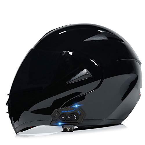 MAMAO Motorrad Integrierter Bluetooth-Helm Funk Sprechanlage Motorrad-Klapphelm mit Anti-Fog-Doppelscheib
