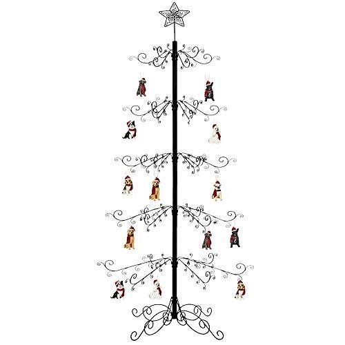 HOHIYA Wrought Iron Christmas Tree Ornament Display Stand Metal 7 to 8 Feet Black