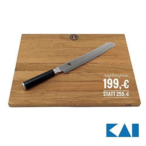 Kai Shun Classic Angebotsset | ultrascharfes DM-0705 Brotmesser 23,0 cm | + großes, Robustes Schneidebrett, 40x30 cm | VK: 255,- €