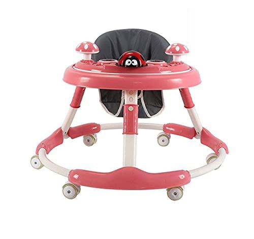 ZOUSHUAIDEDIAN Baby Walker, Asiento Giratorio de 360 °, Caminante para bebés y Centro de Actividad móvil, Caminante para bebé/niña, Sentado o Caminata, para bebé 6-18 Meses (Rosa)