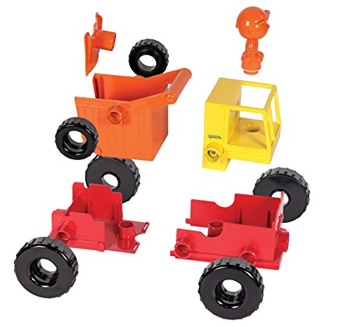 Learning Resources 1-2-3 Build It! Construction Crew Toy, Bulldozer, Digger, Dump Truck, STEM, Imaginative Play, 16 Pieces, Ages 2+