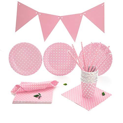 Set de Vajilla Desechable Para Fiestas de Cumpleaños, Babyshower, Party para 30 Personas. Incluye Guirnalda, servilletas, vasos, platos y pajitas. Liso con lunares. (Rosa)