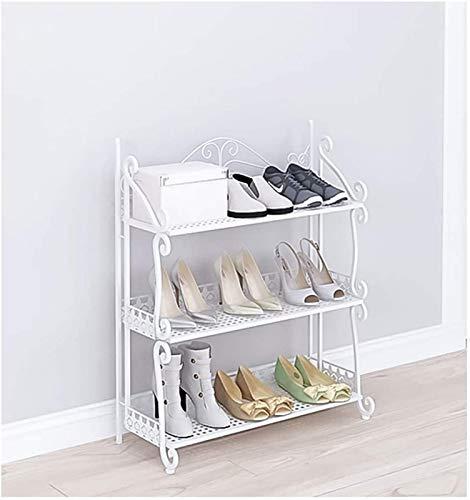 aipipl Zapatero Plegable de 3 Capas, Zapatero Simple para Entrada, gabinete de Zapatos de Hierro Forjado, estantes Independientes para Zapatos/Libro/Flor