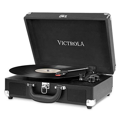 Victrola Vintage 3-Speed Bluetooth Suitcase Turntable Speakers, Black (Renewed)