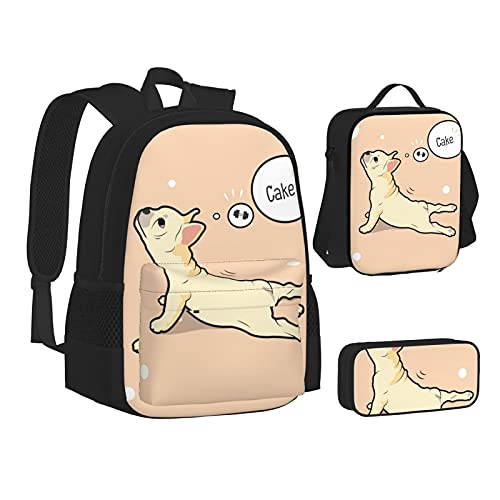 Backpack with Lunch Bag Pencil Case French Bulldog Yoga Cake School Bags