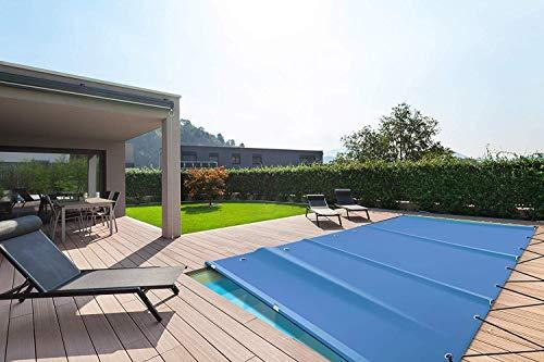 (Profi-Qualität) Rechteckige Poolplanen Schwimmbad Abdeckungen/Poolabdeckung aus LKW-Plane/PVC-Plane (4m x 8m, Blau)