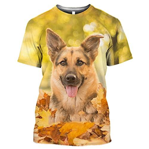German Shepherd Dog T Shirt Funny Men Women Animal Sweatshirt 3D Print Short Sleeve Hip Hop O Neck Pullover 9 4XL