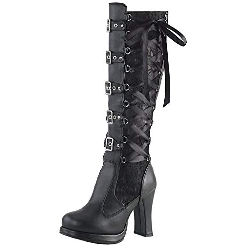 WUSIKY Bootsschuhe Damen Stiefeletten Boots Damen Fashion Cosplay Kreuz gebunden Leder Knie Plateaustiefel Gothic Bows Schuhe (Schwarz, 40 EU)